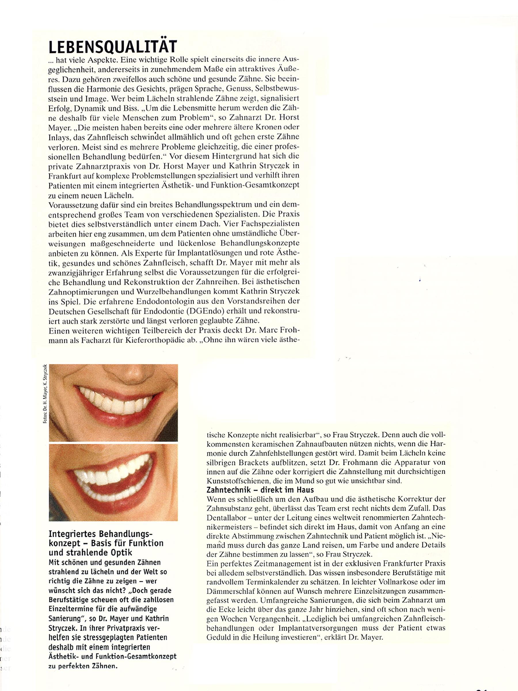 """""""Die aktuellen Methoden der Schönheitsmedizin. Jünger aussehen, sich besser fühlen, schöner lächeln."""" Sonderpublikation, 06/2006"""